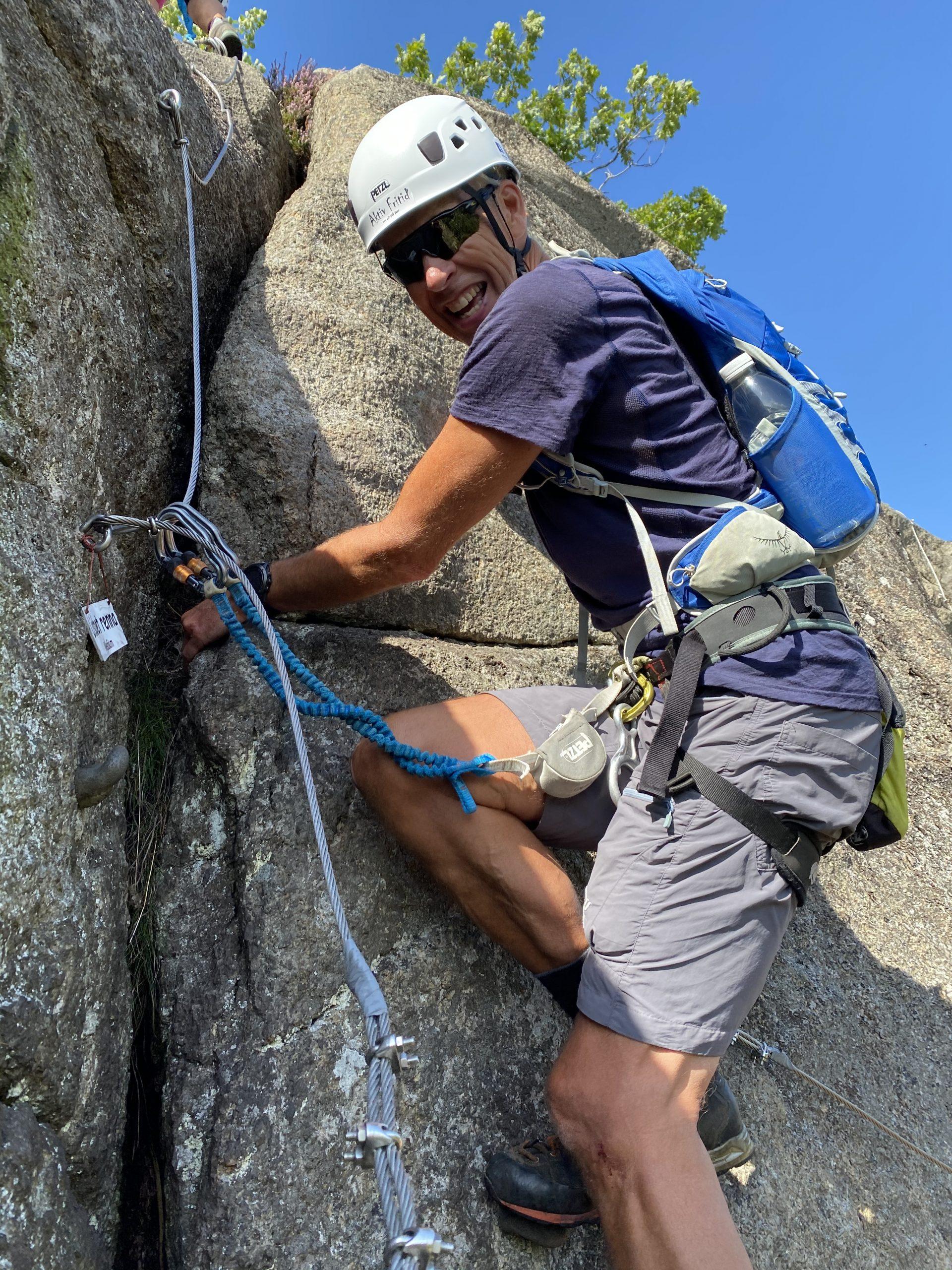Mann i klatreveggen via ferrata tjøme